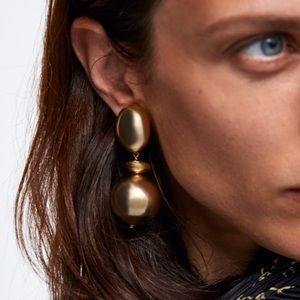Zara golden circular metal earrings